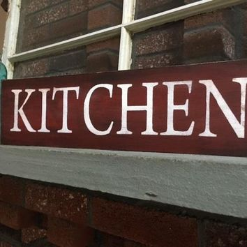 Kitchen Wooden Sign - Red
