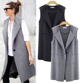 Women Casual Sleeveless Long Duster Waistcoat