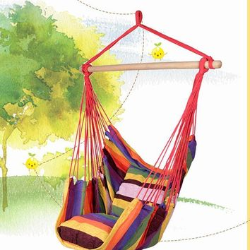 Canvas Hanging Seat with Wood Spreader Bar and Fringe Canvas Hammock Swing Chair Outdoor hammock swing chair with a wooden pole