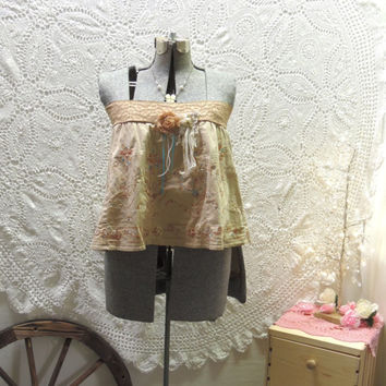 Artsy Shabby Chic Top / Skirt Upcycled Recycled Repurposed Romantic Boho Shabby Cottage Chic Eco Friendly Tan M-L Hippie Gypsy By TatteredFX