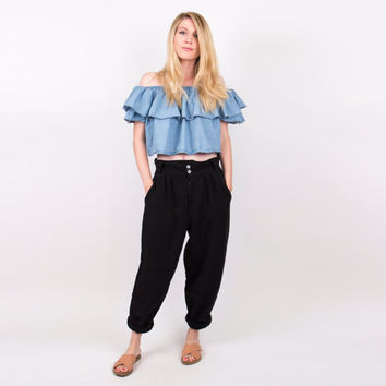 black high waist trouser pants / 80's baggy harem pants / cropped tapered capris pants / market pants / slouchy draped woven slacks Vintage