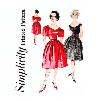 1950s Evening Dress Vintage Sewing Pattern Bust 36 Simplicity 3212 Off Shoulder Dress, Sweetheart Neckline, Full Skirt Dress, Fit and Flare