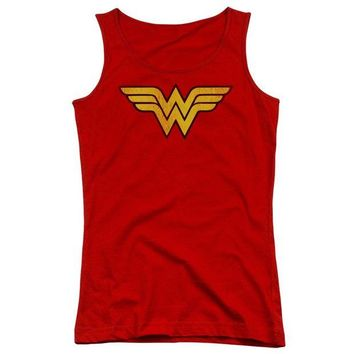 LMFDP2 Wonder Woman Logo Dist Juniors Tank Top