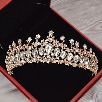 Luxury Bridal Wedding Crystal Crown Tiara Rose Gold Rhinestone Handmade Hair Accessories