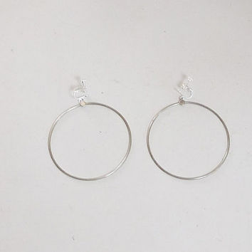 Big Clip On Hoop Earrings, Screw Back, Antiqued Silver Tone, Thin Wire, 3 inch wide, Hippie Jewelry, Boho Hoop Earrings, Bohemian Jewelry