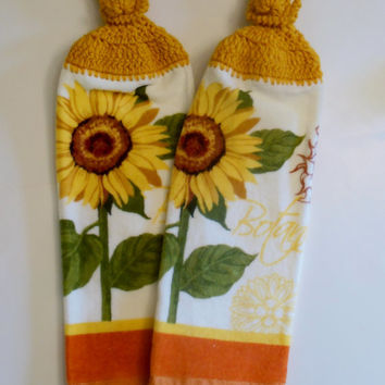Sunflower Hanging Kitchen Towel, Crochet Hanging Towel, Harvest Gold