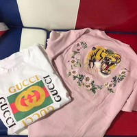 Gucci Trending Back Embroidery Tiger Flower Letter Print Round Collar T-Shirt Top Tee High Quality I