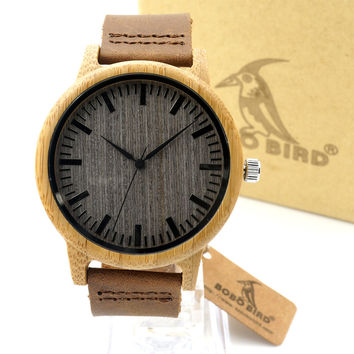 BOBO BIRD A18 Womens Casual Antique Round Bamboo Wooden Watch for Men Leather Strap Lady Watches Top Brand Luxury Wrist Watch