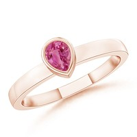 14K Rose Gold Pear Pink Sapphire Ring - SR0764PS