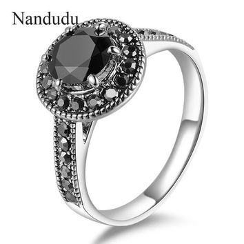 Nandudu FLASH SALE Vintage Marcasite Ring Black Austrian Crystal Rings Fashion Jewelry Gift for Women Girl Lady Accessories R584