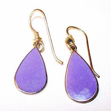 "Laurel Burch Dangle Earrings Purple Enamel Gold French Wire Hooks 1.5"" Vintage"
