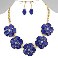 Mckensie Floral Chain Blue Statement Necklace