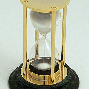 15 Minute Sand Timer in Brass on a Green Marble Base