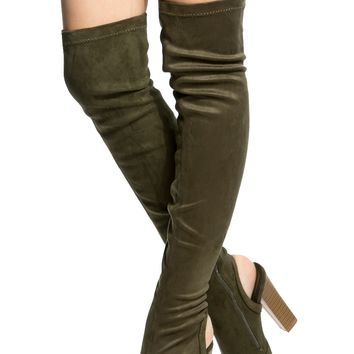 Olive Faux Suede Chunky Cut Out Thigh High Boots @ Cicihot Boots Catalog:women's winter boots,leather thigh high boots,black platform knee high boots,over the knee boots,Go Go boots,cowgirl boots,gladiator boots,womens dress boots,skirt boots.