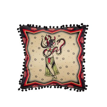 "Step right up to see Sourpuss Clothing new line of sideshow pillows! This one-sided pillow in particular features a traditional tattoo style Snake Charmer framed by classic carnival ""Alive"" banners all printed on satin. The backside of the pillow is solid"
