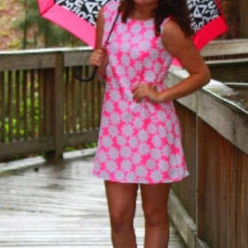 Neon Pink Daisy Dress
