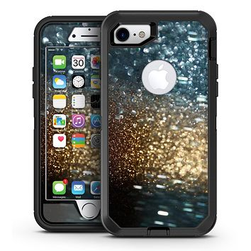 Teal and Gold Grungy Orbs of Light - iPhone 7 or 7 Plus OtterBox Defender Case Skin Decal Kit