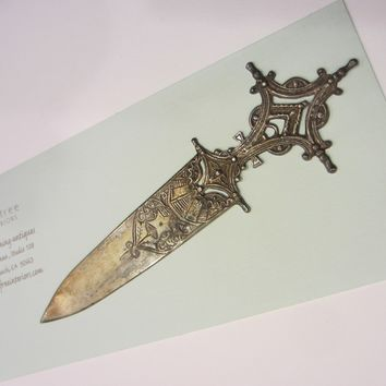 Rococo Style Bookmark Brass Letter Opener Filigree Heart Star Crest