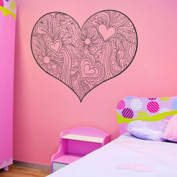 Vinyl Wall Decal Sticker Floral Heart #1519