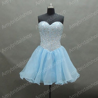 Affordable Blue Beading organza Sweetheart Homecoming dresses, Beading Short prom dresses,Party dress,Women's dresses,Sweetheart Mini dress