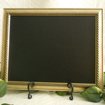 Champagne Gold Framed Chalkboard, Framed chalk board, kitchen menu board, black board, wedding chalkboard , picture frame, up cycled,