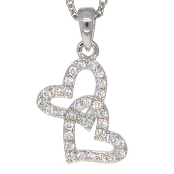 Dear Deer White Gold Plated Double Heart CZ Pendant Necklace