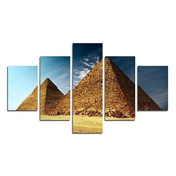 SwmArt 5 Piece Home Decor Oil Painting Egyptian Pyramids HD Print on Canvas Wall Art Picture for Living Room(no frame) Swm192 50 inch x30 inch