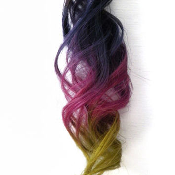 2x Clip in Human Hair Extensions Ombre Highlights Purple Magenta Pink Red Green