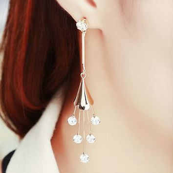Rhinestone Heart Hanging Flower Tassel Earrings - LilyFair Jewelry