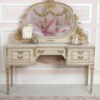 SOLD Stunning Old Vanity  Mirror with Gold Highlights - $2700 - The Bella Cottage
