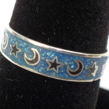Antique Sterling Silver Moon and Stars Ring Sterling Enamel Ring Vintage Silver Stackable Ring Mystical Ring Magical Vintage Band Wedding