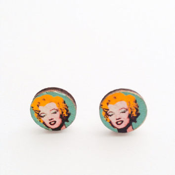 Happy lovely Retro Kitsch handmade Wooden Marilyn Monroe Andy Warhol studs Post Earrings xoxoxo Very Kawaii love factory :)