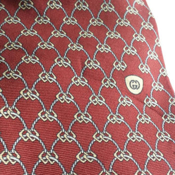 GUCCI Necktie Tie Maroon Geometric Print Luxurious Designer Dapper Italian Silk Vintage Mens Accessories