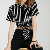 Self-Tie Striped Shirt