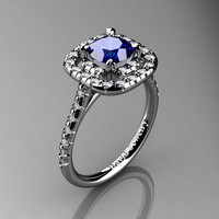 French 14K White Gold 1.0 Ct Blue Sapphire Diamond Engagement Ring R1028-14KWGDBS
