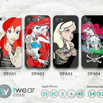 Tattooed Disney Princess iPhone 5 Case,iPhone 4 Case, iPhone 4s Case - Plastic Phone Case- iphone 4 5 4s case, iphone 4s/4 case - IP5DTP01