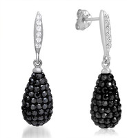Sterling Silver Crystal Dangle Earrings made with Black and White Swarovski Elements
