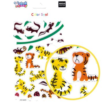 Tiger Skunk Sloth Cartoon Illustrated Animal Jelly Puffy Stickers for Scrapbooking