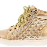 SKATE03 GOLD QUILTED HI TOP SNEAKER FLAT
