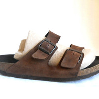 Birkenstock Sandal Men Brown Sandal Men Shoe 12 Men Sandles 90s Sandal Brown Leather Sandal Men Vintage Slide Sandal