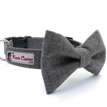 Genuine Wool Dog Collar in Gray / Grey with by theKozieCanine