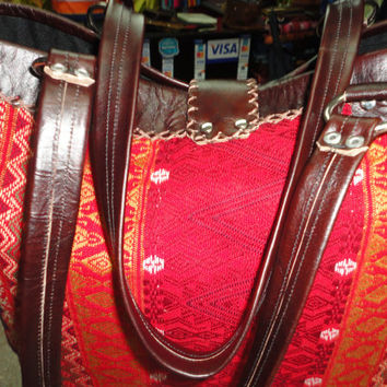 Handmade big bag from guatemala, vintage huipil and leather, leather bag, handmade huipil, bright colors...