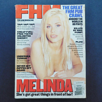 1990s Vintage / FHM Magazine / For Him Magazine / April 1997 / Melinda Messenger / British Mens Magazine / 90s Fashion / Eurostyle / Caprice