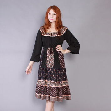 Vintage 70s PEASANT DRESS / 1970s Young Edwardian Black Floral Midi, xs - s