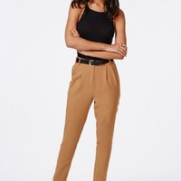 Missguided - Uttara High Waisted Tailored Belted Trouser Camel