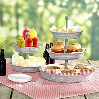 Galvanized Tiered Serving Trays and Caddy Rustic Country Kitchen Decor