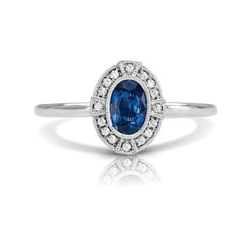 14k White Gold Couture Vintage Inspired Oval Blue Sapphire & Diamond Ring