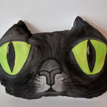 Hand Painted Cat Pillow,Nursery Decor,Decorative Black Cat,Soft Sculpture,Hand drawn Pillows,Animal Totems,Fiber Art ,Kitten Pillows