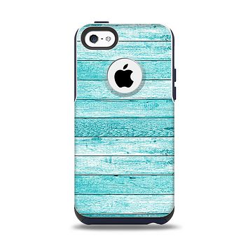 The Trendy Blue Abstract Wood Planks Apple iPhone 5c Otterbox Commuter Case Skin Set