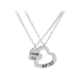 2pcs/set Best Friends Necklace 2PC Double Heart Big Lil Little Sis Sister Pendant Necklace Jewelry Girls BFF Choker for gifts